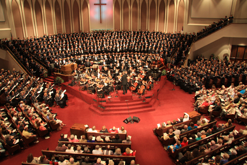 "The Singing Churchmen of Oklahoma, Singing Churchwomen of Oklahoma, and Oklahoma Baptist Symphony share worship anthems, including ""Amazing Grace!  Eternal Life"") at the ""Foundations"" worship concert, directed by Dr. Bill Green."