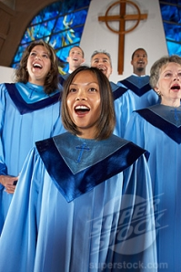 What a difference!  This choir is aware that part of communicating the message effectively is eye contact and facial expression.  They are visually engaged in worship when they sing.