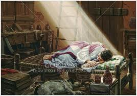 Artistic depiction of Joseph as he slept and the angel appeared to him in a dream