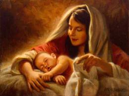 Artistic depiction of Mary caring for Baby Jesus