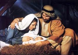 Artistic depiction of baby Jesus with Mary and Joseph
