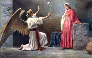 Artistic depiction of the angel Gabriel appearing to Mary