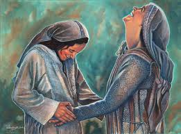 Artistic depiction of Mary and Elizabeth rejoicing together
