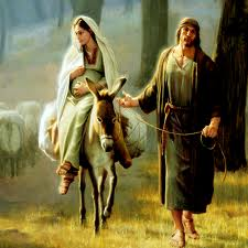 Artistic portrayal of Mary and Joseph travelling to Bethlehem