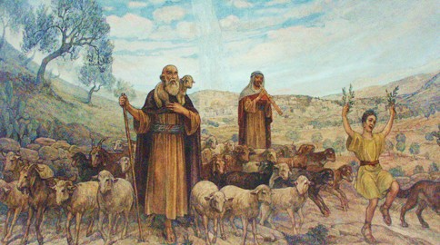Artistic depiction of the shepherds returning to their flocks, glorifying and praising God