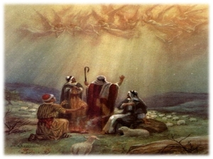 The Heavely Host appear to the shepherds and share the good news of the birth of Jesus