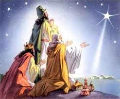 Artistic depiction of the wise men (or Magi) continuing their journey to find Jesus