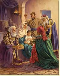 Artistic deptiction of the wise men worshiping the young child Jesus