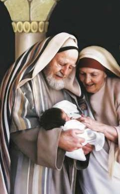 Dramatic portrayal of Zechariah and Elizabeth with their miracle baby