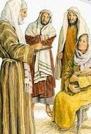 "Artistic depiction of Zechariah writing on a tablet, ""His name is John."""