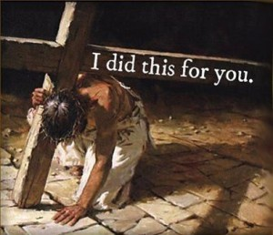 Jesus bowed under weight of cross