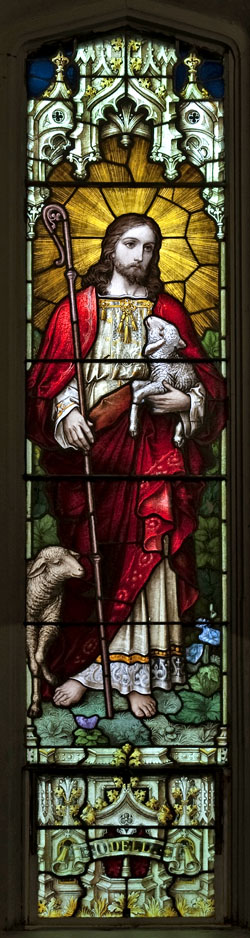 Jesus shepherd stained glass tall