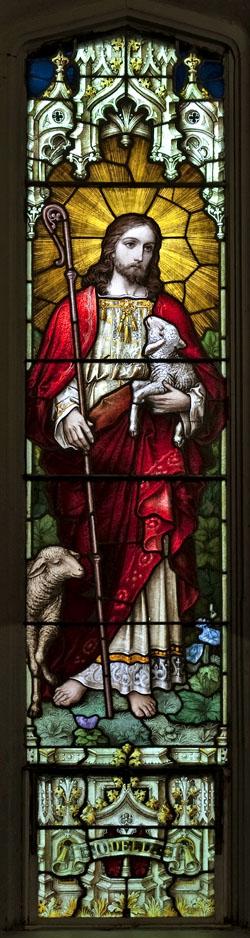Jesus shepherd stained glass tall